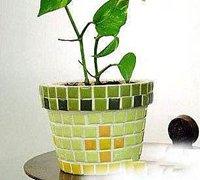 用马赛克DIY漂亮的花盆 创意花盆改造