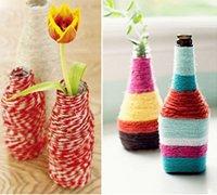 用毛线装饰的五彩花瓶 让花瓶穿上温暖的外衣