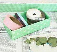 废纸箱的利用:小清新化妆品收纳盒、杂物收纳盒