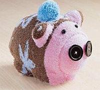用旧袜子手工制作小猪公仔 袜子diy玩偶