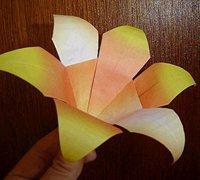百合花的折纸图解 六瓣百合花的手工折纸教程