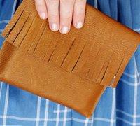 超级简单的流苏手拿包的制作方法 牛皮皮革DIY包包