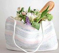 手工编织一款清新自然的购物袋