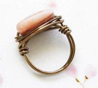 手工制作时尚百搭的桃粉色砂金石戒指