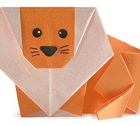 狮子的折纸方法 动物折纸手工教程