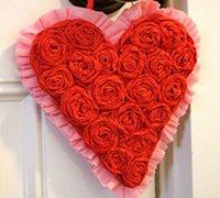 浪漫的玫瑰之心装饰挂件 心形花束diy教程