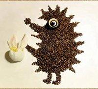 可爱的动物创意拼贴画 咖啡豆拼贴艺术