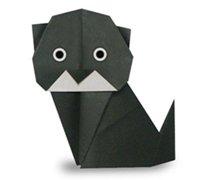 折纸小黑猫的折法图解 动物折纸教程