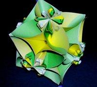 折纸花球的折法 四瓣花球手工折纸图解(二)