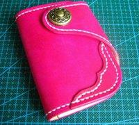 手工DIY桃红色red moon风格皮革卡包