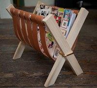 皮革和木材DIY可折叠的创意杂志架、书报架