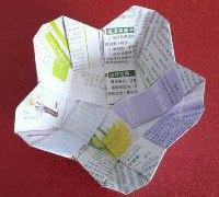 花瓣式五边形盛物篮 收纳盒、垃圾盒折纸教程