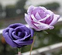 皱纹纸DIY逼真的漂亮玫瑰花 纸花制作教程