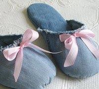 旧牛仔裤废物利用 牛仔裤diy温暖的拖鞋
