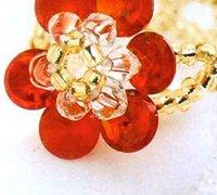 红花瓣串珠戒指的手工DIY编法图解