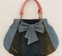 http://www.63diy.com废旧牛仔裤DIY可爱的蝴蝶结挎包