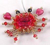 可爱个性的螃蟹串珠耳环手工DIY图解