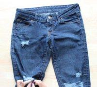 旧牛仔裤改造青春时尚的破洞牛仔裤