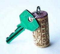 红酒软木塞diy创意钥匙挂坠