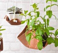 用皮革做一个植物吊托 合理利用你的空间