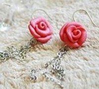 粉色玫瑰耳环的软陶手工diy教程