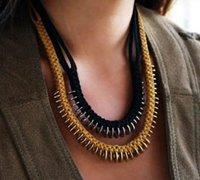 皮革与金属铜片混编的大气手工项链制作