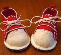 不织布手工制作的英伦风宝宝布鞋