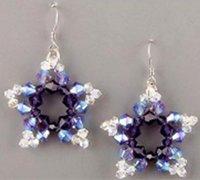 晶莹剔透的五角星手工串珠耳环diy手工制作