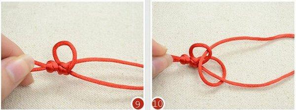 红绳串珠手链编法图解