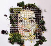 水果蔬菜拼贴的人物肖像拼贴艺术手工作品