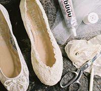 蕾丝婚鞋diy改造教程