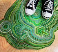 布条编织地毯 不织布布条制作创意手工地毯地垫