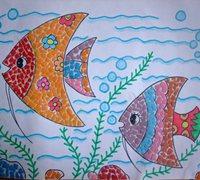 蛋壳粘贴画教案 海底世界蛋壳粘贴画图片
