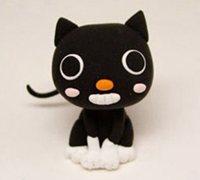可爱的黑色猫咪软陶制作图解