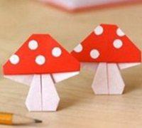 折纸蘑菇图解 小蘑菇手工折纸教程