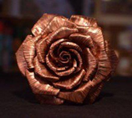 玫瑰花的做法 用铜片手工自制玫瑰花