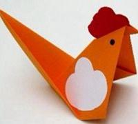 可爱的小公鸡折纸图解 儿童动物折纸教程