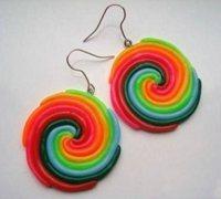 彩虹色的棒棒糖耳环软陶制作教程