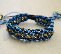 串珠绳子混编蓝色宽版手镯编织教程
