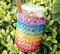 金属线diy美丽的彩虹编织袋