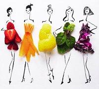 利用蔬菜创作出的创意时尚时装拼贴画
