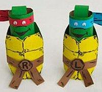 卫生纸卷筒废物利用手工制作忍者神龟小玩偶