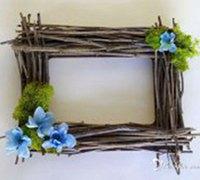 田园风树枝相框创意手工制作