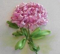 菊花的丝带绣绣法教程