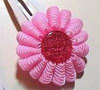 清新的丝带花朵发饰头花diy教程