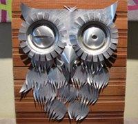 易拉罐废物利用diy可爱的猫头鹰浮雕挂画