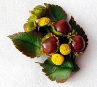 唯美自然的浆果小物粘土胸针教程