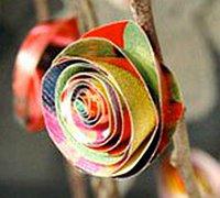复古纸玫瑰花的简单折法图解