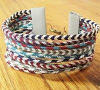 色彩绚丽的宽版编绳手链方法图解