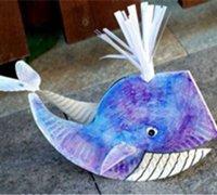 一次性纸盘制作小鲸鱼的儿童手工教程